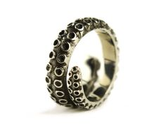 Octopus Tentacle Ring Antique Silver Color by RebelOcean on Etsy
