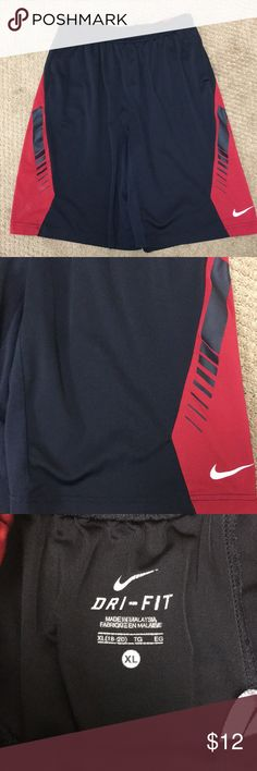 Boys Nike Dri-Fit Black and Red Shorts - XL EUC Boys Nike Dri-Fit Black shorts with red trim in size XL (18-20).  No stains or tears. Nike Bottoms Shorts