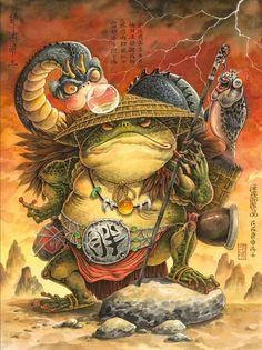 Japanese Artwork, Japanese Tattoo Art, Fantasy Kunst, Fantasy Art, Character Art, Character Design, Frog Tattoos, Samurai Artwork, Japon Illustration