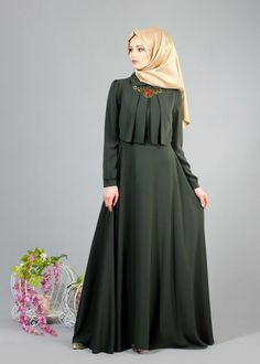 Discover thousands of images about T 2153 Tuay Pelerinli Bebe Yaka Elbise - HAKİ - Trend Tesettür Abaya Fashion, Modest Fashion, Fashion Dresses, Fashion Cape, Hijab Style Dress, Abaya Style, Moslem Fashion, Mode Abaya, Muslim Dress