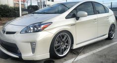 Volk GT-V's on Megan coilovers.  TRD Prius Plus Package with Aerojacket carbon fiber side skirts.