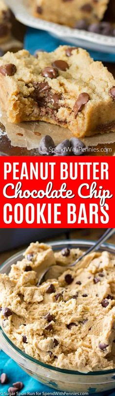 Soft and chewy peanut butter chocolate chip cookie bars! These cookie bars are made extra thick in a 9x9 pan and are loaded with creamy peanut butter and packed full of chocolate chips! #cookies #peanutbuttercookies #chocolatechipcookies #easyrecipe #easydessert #spendwithpennies
