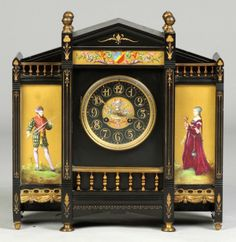 """French Marble Mantle Clock With Hand Painted Enamel Panels And Brass Tone Trim, Dial Marked """"D Valentine""""    c. 19th Century"""