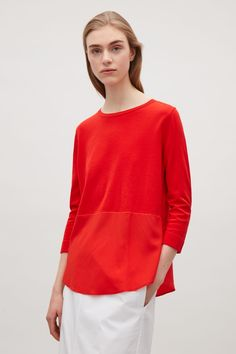COS image 2 of Knitted top with silk panel in Signal Red