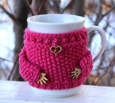 Coffee cozy and mug set. Hand knit mug sweater. by MugHugCozy on Etsy Coffee Cup Cozy, Mug Cozy, Crochet Dolls, Crochet Baby, Tea Warmer, Yellow Mugs, Porcelain Mugs, Wooden Hand, Red Rhinestone