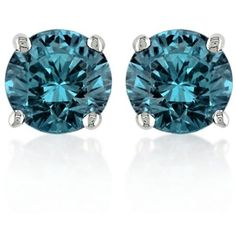 Belk  Co. Blue Blue Diamond Stud Earrings In 14K White Gold ($2,640) ❤ liked on Polyvore featuring jewelry, earrings, blue, stud earring set, diamond jewelry, 14k stud earrings, white gold stud earrings and blue earrings