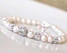 Freshwater Pearl, Rhinestone Wedding Bracelet. Bridal Bracelet, Sterling Silver, Ivory White Pearl Bracelet. Wedding Jewellery
