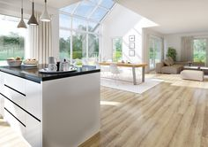 Innenausstattung von Kern-Haus The open and spacious living / dining area is a real eye-catcher. Home And Living, Home And Family, Farmhouse Windows, Dining Area, Dining Room, Interior Design Living Room, House Plans, Sweet Home, New Homes