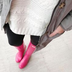 Winter Outfit and Pink Hunter Boots