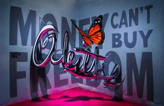 odeith lettering with 3d butterfly, graffiti