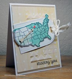 Lawn Fawn - Wish You Were Here _ uniquely colored map and a beautiful card design by Julie at What Julie Makes