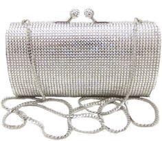 Silver Bridal Swarovski Crystal Clutch Purse