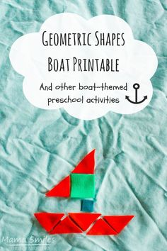 Geometric shapes boat activity for kids, plus more boat-themed learning activities for children. Playful learning for preschool-aged children. Transportation Activities, Educational Activities For Kids, Indoor Activities For Kids, Preschool Activities, Cognitive Activities, Work Activities, Happy Mom, Happy Kids, Boat Theme