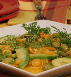 Orange, Avocado and Green Picholine Olive Salad  I saw Joanne Weir prepare this on PBS and it looks FAB!