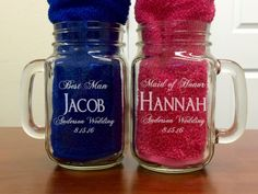 Wedding Party Gifts Personalized Mason Jar Groomsmen Bridesmaids Gift Favor