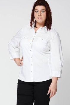 White Roll Up Sleeve Shirt Roll Up Sleeves, Shirt Sleeves, Couture Fashion, Shirts, Tops, Women, Women's, Shell Tops, Shirt