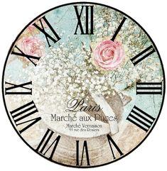 Roman Numerals and flowers Decoupage Vintage, Decoupage Paper, Shabby Vintage, Shabby Chic, Clock Craft, Diy Clock, Clock Face Printable, Clock Template, Unusual Clocks