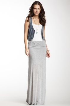 Maxi Skirt, tee, jean vest, long necklace