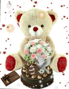 Birthday Cheers, Happy Birthday, Animals And Pets, Birthdays, Teddy Bear, Apple, Happy Love, Beautiful Roses, Happiness