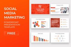 Social Media Marketing Free PowerPoint Template Free Powerpoint Presentations, Powerpoint Template Free, Powerpoint Presentation Templates, Keynote Template, Marketing Presentation, Data Charts, Social Media Marketing, Google