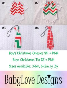 Christmas for the boys! Boys Christmas Onesies $14 + P&H Boys Ties $5 + P&H  Sizes available 0m - 2y  *Please Note - We will be closed last 2 weeks of October so all orders will need to be in by then.*Lay-By Available*ETA November*