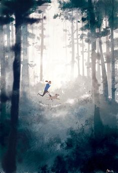 Sometimes I get so cloudy in my head, I need something physical and simple to get the fog to leave. A good bike , a run, a swim. Pascal Campion, Art And Illustration, Color Script, Me And My Dog, Animation Background, The Draw, American Artists, Art Inspo, Amazing Art