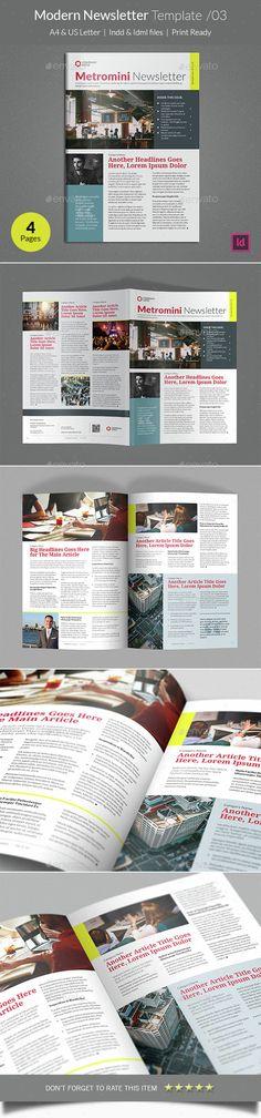 Modern Newsletter Template InDesign INDD. Download here: http://graphicriver.net/item/modern-newsletter-template-v03/14633391?ref=ksioks