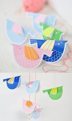 Sweet Paper  Bird Mobile with Free Printable. Such a cute decoration for a kids room or nursery. Also can be used as note cards, gift tags or kids party table settings.