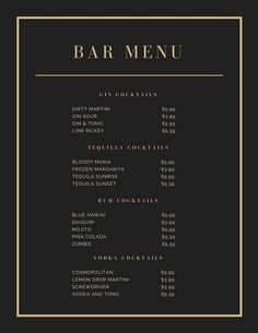 Black and Gold Elegant Cocktail Menu