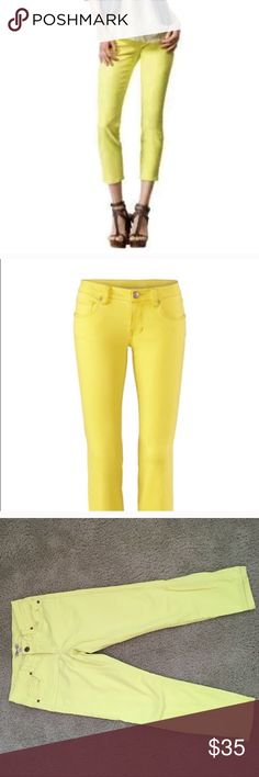 CAbi yellow cropped jeans Size 4 yellow cropped CAbi skinny jeans. Super fun color for summer! 99% cotton, 1% spandex. Style # 1304 excellent condition. CAbi Jeans Ankle & Cropped