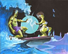 Monster Surf by Mike Hoffman Beetlejuice, Queen Anime, Frankenstein's Monster, Monster Squad, Monster Mash, Bride Of Frankenstein, Frankenstein Halloween, Figure Sketching, Classic Monsters