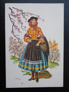 Stamps, covers and postcards of traditional/folk costumes: Postcards / Costumes - Portugal / Portugalija. Algarve