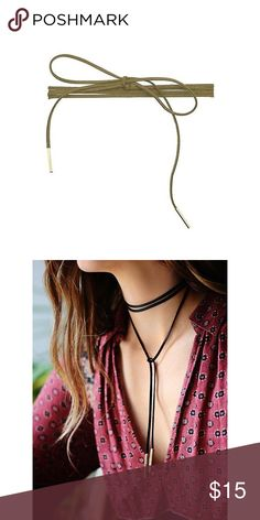 """Boho Chic Suede Olive Wrap Choker Necklace Grab this got Boho Chic Suede Olive Wrap Necklace in black/silver! Metal is 3/4"""" long and full length is 72"""". 🔹Gold/Black, Burgundy/Gold and Silver/Gold are listed in a separate listing🔹 . . If you would like to make an offer, please use the OFFER BUTTON. {10% discount on all 2+ orders} . . FOLLOW US✌🏽️ Insta 📸: shop.likenarly Facebook📱: likenarly Website 🌐: likeNarly.com likeNarly Jewelry Necklaces"""