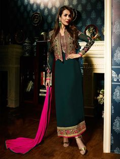 Buy stylist designer pine green party wear straight fit salwar suit online with awesome offers and best delivery services. Browse our exclusive collection of green salwar kameez online online at best price in UK from ZaraaFab.  #partywear #straightfit #salwarsuit #chudidar #collection #traditionalwear #salwarkameez #designersuits #bollywooddresses #indianfashion #indianwear #onlineshopping #Shipping #UK #USA #CANADA #Germany