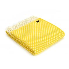 Tweedmill Pure New Wool Twill Throw Blanket Yellow - Tweedmill from Hurn & Hurn UK