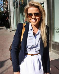 Chambray blouse, white skirt, and navy blazer