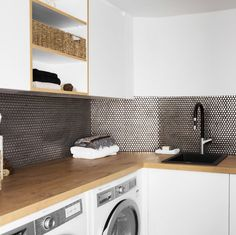 The Block Octagon: Laundry, Study, Powder room Modern Laundry Rooms, Laundry In Bathroom, The Block Bathroom, Interior Design Living Room, Living Room Designs, Laundry Cabinets, Laundry Room Appliances, The Block Australia, Engineered Timber Flooring