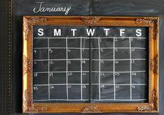 chalkboard calendar. Nice idea!