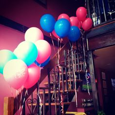 Balloons for a hot pink and navy blue bridal shower (our save the dates had a pink balloon which were the same ones use to decorate)