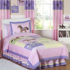 Delight the horse lover in your life with this feminine 'Pretty Pony' bedding set from Sweet Jojo. With soft, beautiful colors and adorable horses, this set is the perfect way for your little cowgirl to have the room she's always wanted.