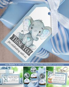 Boy Elephant Baby Shower Gift Tags Thank You Favor Tags Regalo Baby Shower, Fiesta Baby Shower, Baby Shower Niño, Baby Shower Invitaciones, Shower Bebe, Baby Shower Thank You, Baby Shower Favors, Baby Shower Parties, Baby Shower Themes