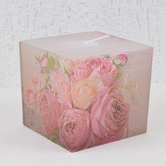 Vela Quadrada Branca Decoupage Floral Retrô Vintage Roses