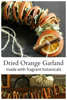 This dried orange garland project made with bay leaves, and cinnamon sticks are easy to create and make a beautiful statement in your fall or winter decor. - Dried Orange Garland Made with Fragrant Botanicals Natural Christmas, Homemade Christmas, Simple Christmas, Winter Christmas, Winter Holidays, Christmas Holidays, Xmas, Fall Crafts, Holiday Crafts