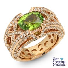 2.65 ct Green Tourmaline Oval & 1.27 ctw Diamond Round Ring Item #464-2517  Tune into Gem Shopping Network to see stunning gemstones and jewelry 24/7. Magnificent emerald rings, blue tanzanite earrings, platinum diamond bracelets, or estate sapphire necklace are just a click away! Visit our website to day and discover your jewelry destination.