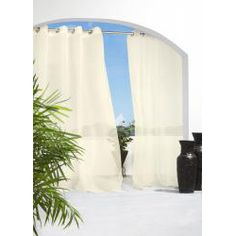 @Overstock - Update your window dressing inside or outside with these Voile curtain panels by Escape. The curtain panels are sheer, mildew repellent and hang easily with the eight grommet rings per panel.http://www.overstock.com/Home-Garden/Escape-Indoor-Outdoor-96-inch-Voile-Curtain-Panel-Pair/6632021/product.html?CID=214117 $58.99