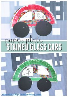 Paper Plate Stained Glass Cars - Kid Craft Idea