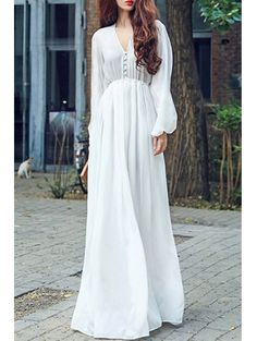 SHARE & Get it FREE   High Waisted V-Neck Long Sleeve Chiffon Maxi DressFor Fashion Lovers only:80,000+ Items • New Arrivals Daily Join Zaful: Get YOUR $50 NOW!