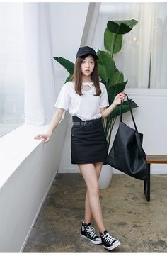 Korean Fashion - Single color short skirt - AddOneClothing - 2