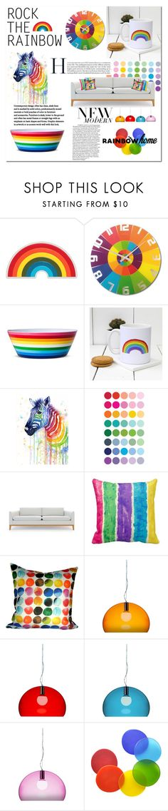 """Rainbow Home"" by djinam ❤ liked on Polyvore featuring interior, interiors, interior design, home, home decor, interior decorating, Anya Hindmarch, NeXtime, Evergreen and Rove Concepts"
