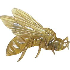 Offered for sale is this lovely Art Nouveau carved horn brooch modeled as a wasp, c1900. Unsigned. This is in lovely condition and is a nice size